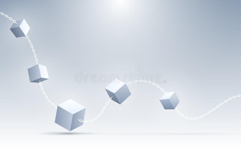 3d abstracto cubica el fondo Cubos geométricos de la conexión Ciencia, Blockchain, y fondo de la tecnología abstraiga el fondo ilustración del vector