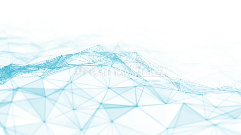 3d abstracto que rinde puntos y líneas futuristas estructura digital geométrica de la conexión del ordenador Plexo con las partíc ilustración del vector