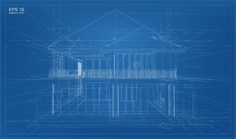 3D abstractos rinden de la estructura del wireframe del edificio ilustración del vector