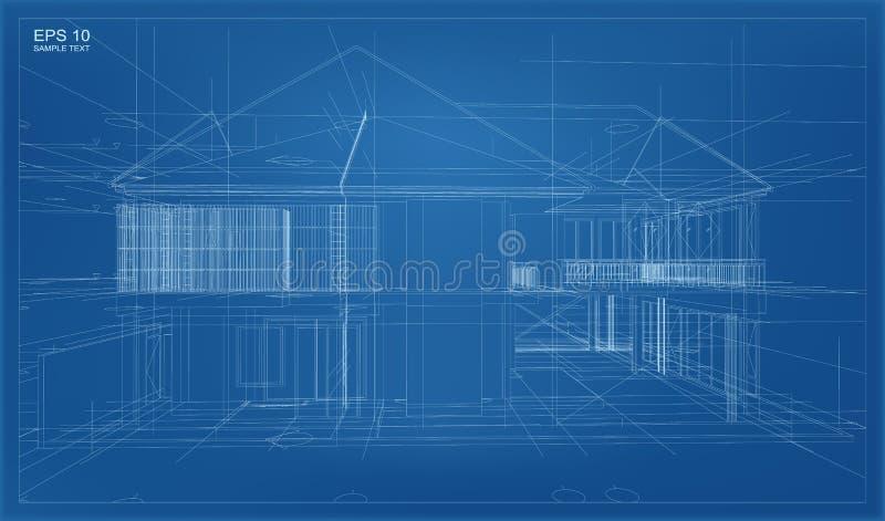 3D abstractos rinden de la estructura del wireframe del edificio stock de ilustración