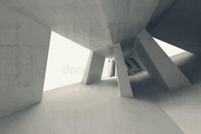 3d abstractos vacian el interior con perspectiva doblada ilustración del vector