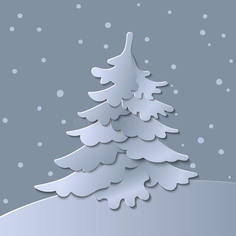 3d abstraem a ilustração do corte do papel da árvore de Natal Vector o cartão colorido do molde em cinzelar o estilo da arte ilustração do vetor