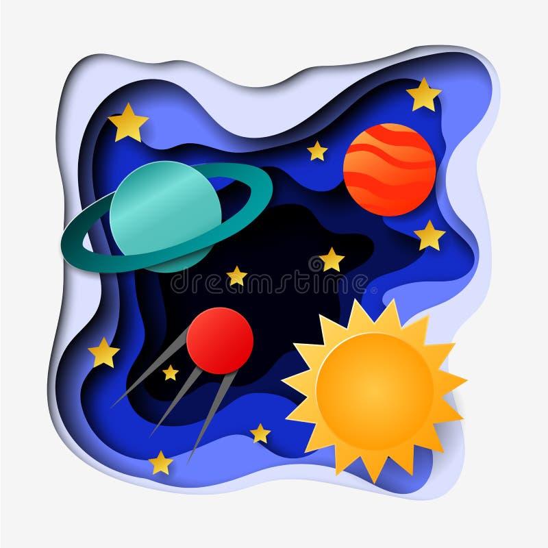 3d abstraem a ilustração do corte do papel do espaço, do planeta, das estrelas, do sol e do satélite Molde colorido do vetor em c ilustração do vetor