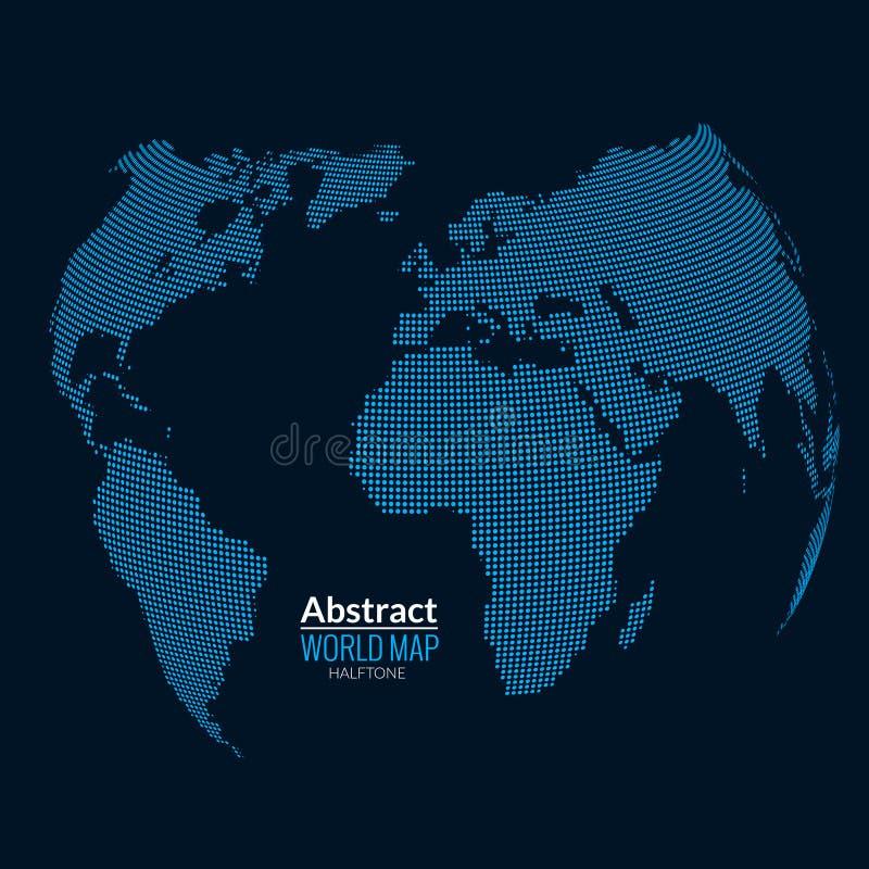 3d abstraem o planeta do mapa do mundo, pontos, conceito de intervalo mínimo global do mapa na obscuridade ilustração royalty free
