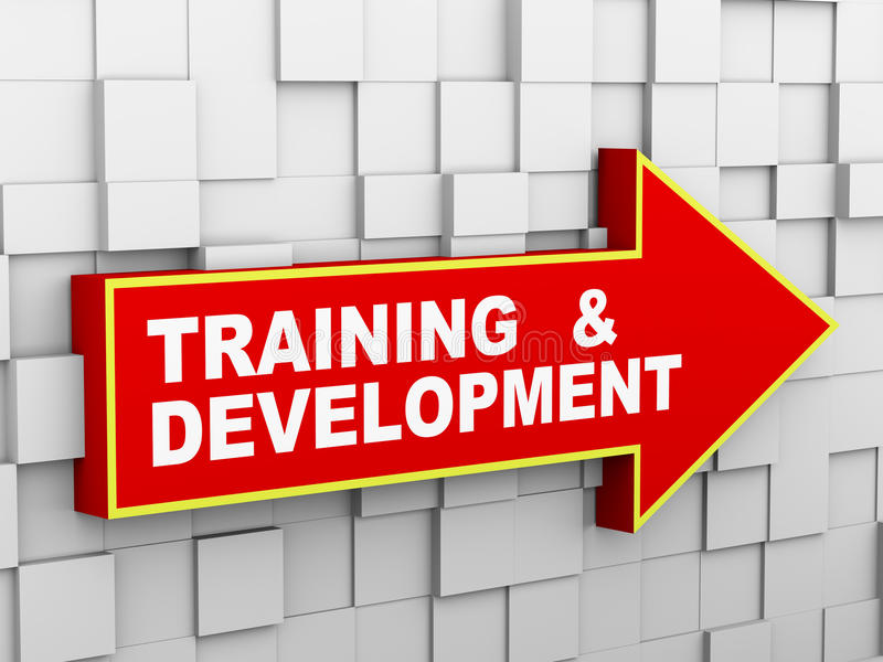 3d abstraem a seta da parede do cubo - treinamento e desenvolvimento ilustração royalty free