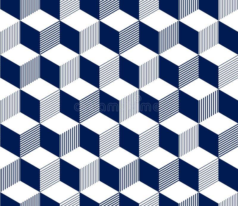 3d abstrait a barré le modèle sans couture géométrique de cubes dans bleu et blanc, vecteur illustration stock