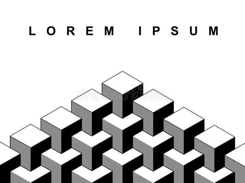 3d abstrait cube le calibre géométrique de bannière d'illusion optique en noir et blanc, vecteur illustration libre de droits