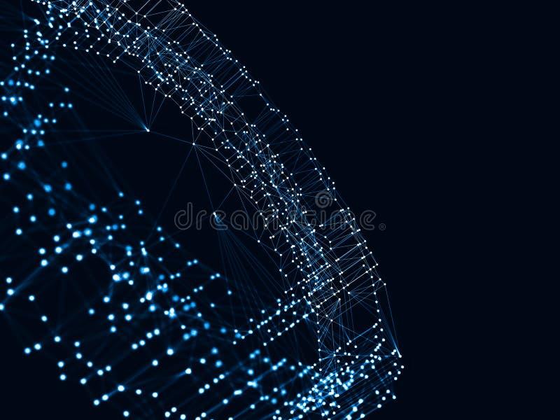 3d abstrait rendant les points et les lignes futuristes structure numérique géométrique de connexion d'ordinateur Intelligence ar illustration stock