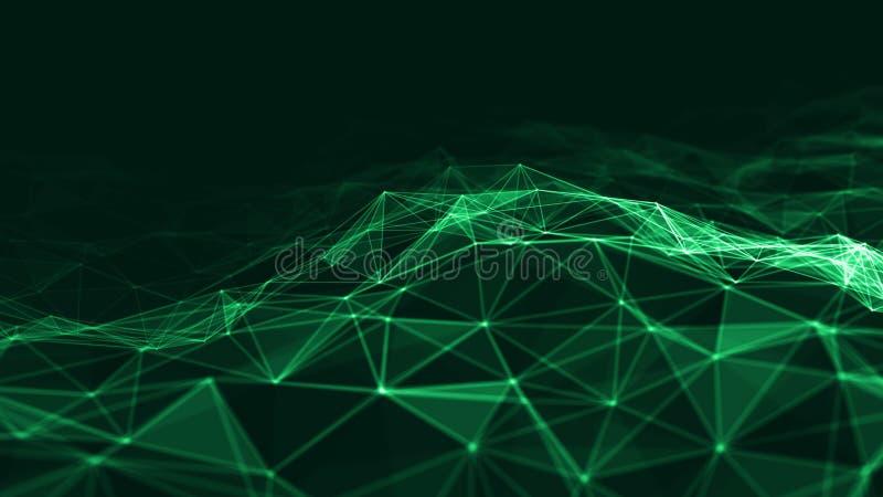 3d abstrait rendant les points et les lignes futuristes structure numérique géométrique de connexion d'ordinateur Plexus avec des illustration de vecteur