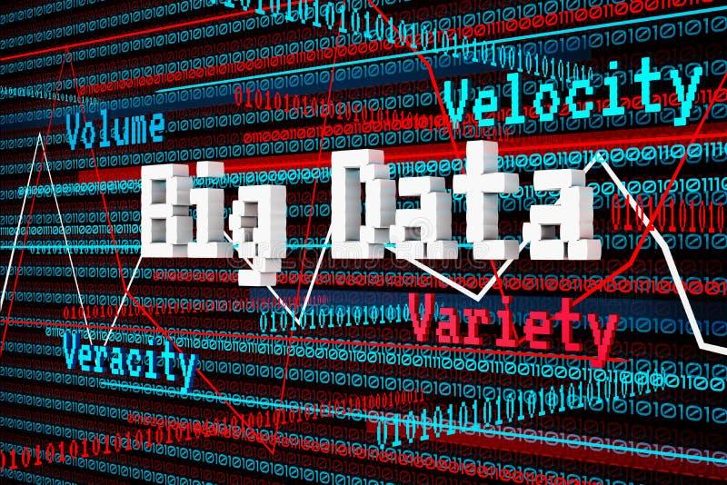 3d abstraits rendent de grandes données, volume, vitesse, variété, véracité illustration libre de droits