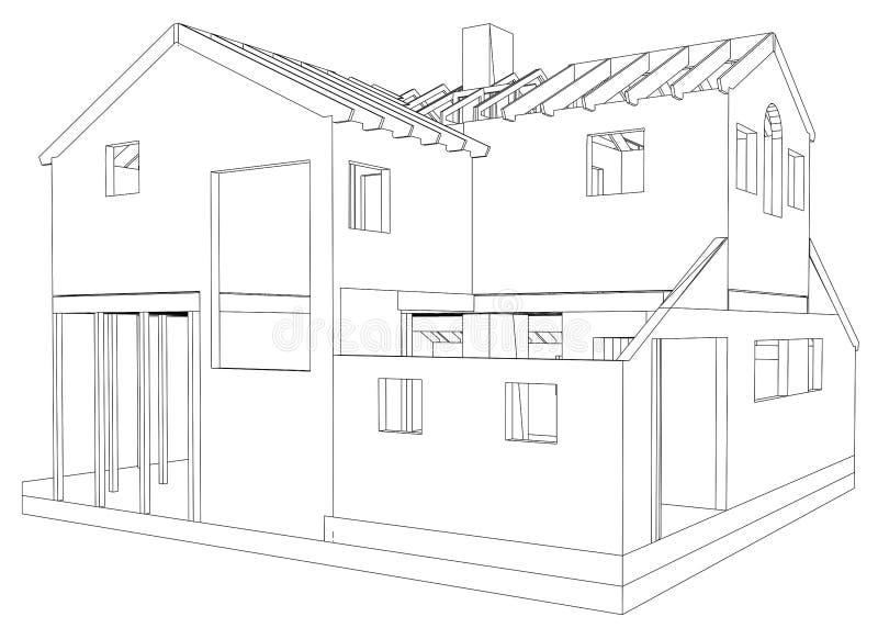 3D abstraits rendent de la structure de wireframe de bâtiment Graphique de construction Illustration de découverte de 3d illustration de vecteur