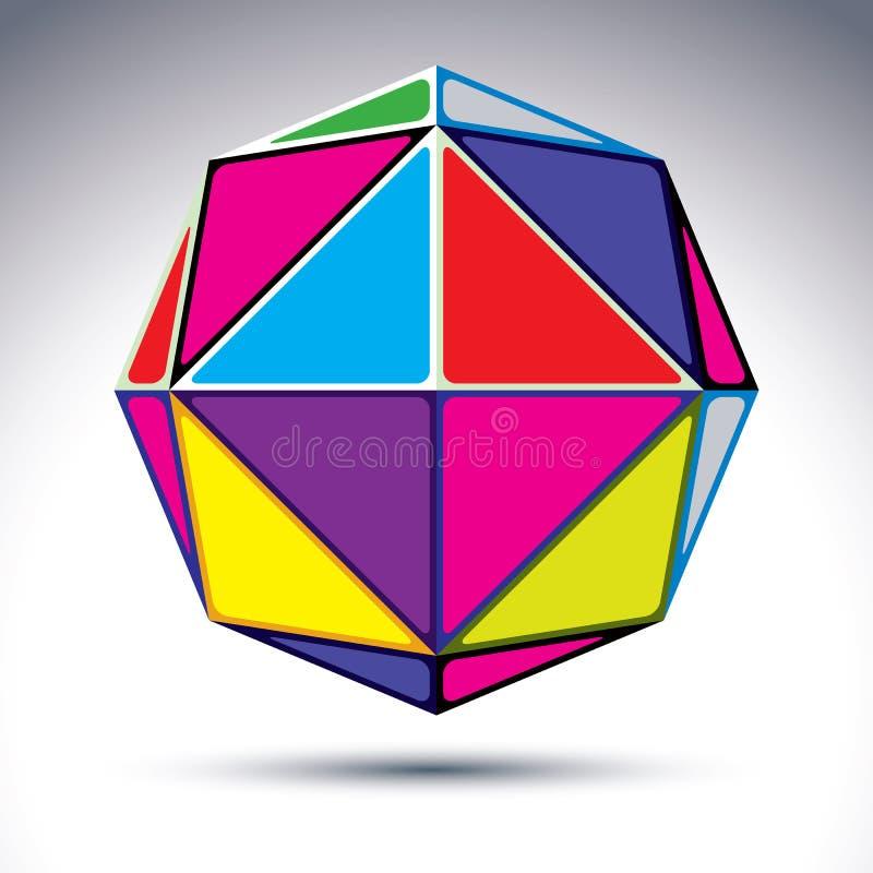 3d abstrakcjonistyczna piłka odizolowywająca na białym tle Kolorowa sfera w ilustracja wektor