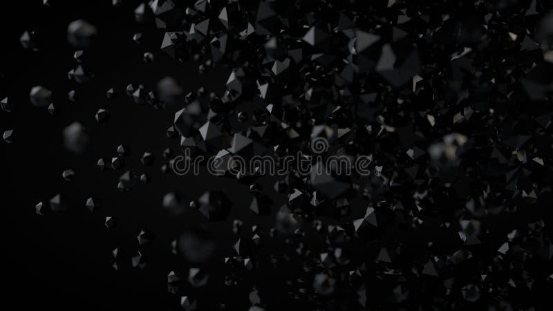 3D Abstrakcjonistyczny Czarny Platoniczny skład, tło, Odpłaca się royalty ilustracja