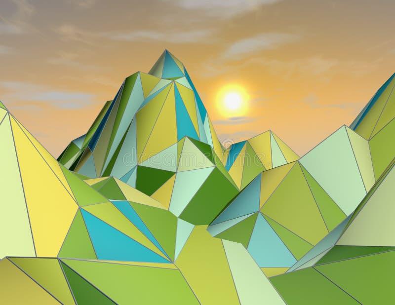 3d abstrakcjonistyczny futurystyczny krajobraz z chmurami i geometrycznymi górami royalty ilustracja