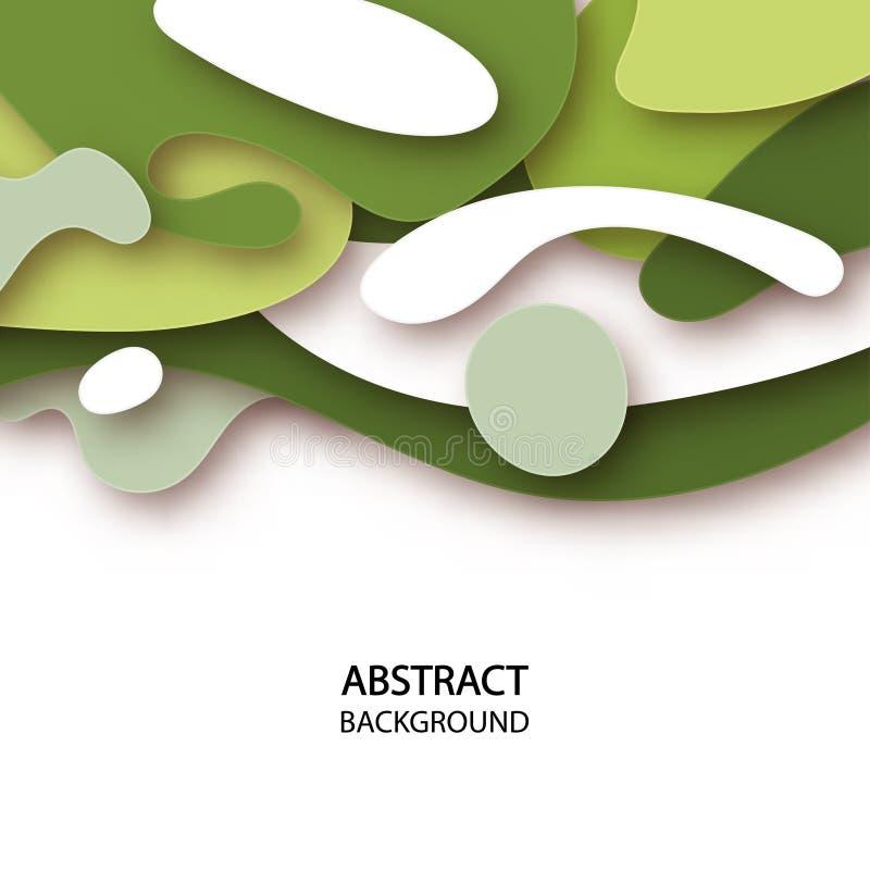 3D abstrakcjonistyczny tło z papieru cięcia kształtami ilustracji
