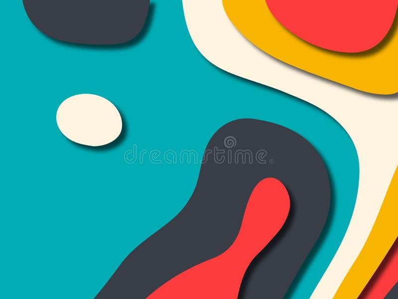 3D abstrakcjonistyczny tło z papieru cięcia kształtami Abstrakta papier rzeźbi szablonu tło dla książkowej pokrywy, Papieru rżnię royalty ilustracja