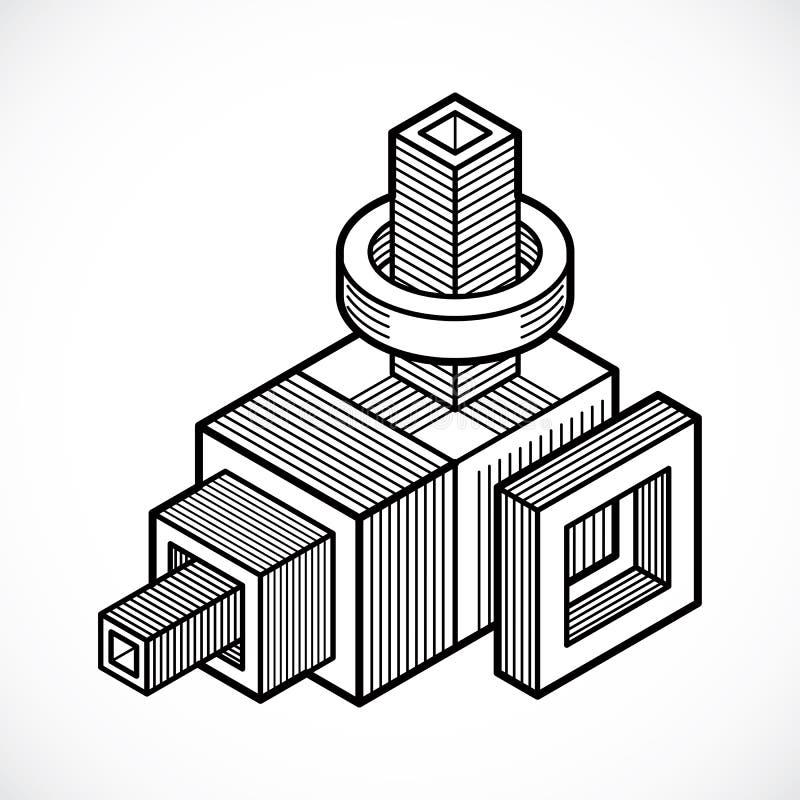 3d abstrakt isometrisk konstruktion, polygonal form för vektor royaltyfri illustrationer
