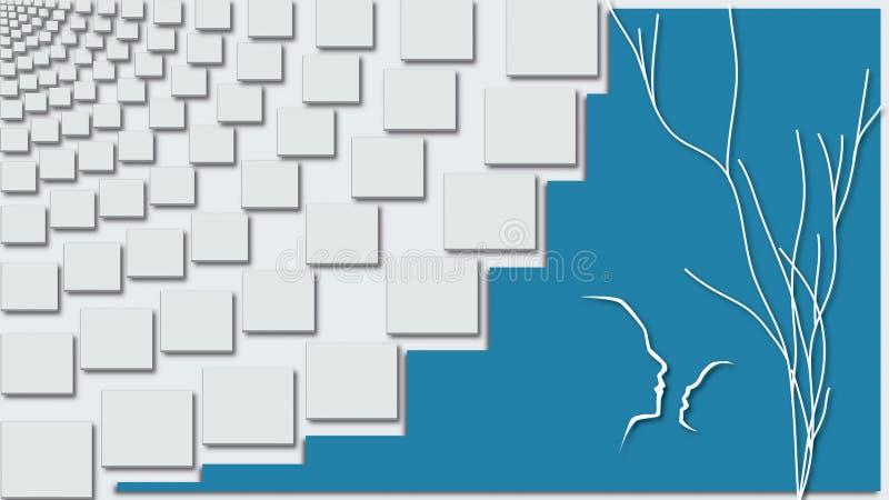 3D abstrakta ściany decals ilustracja wektor