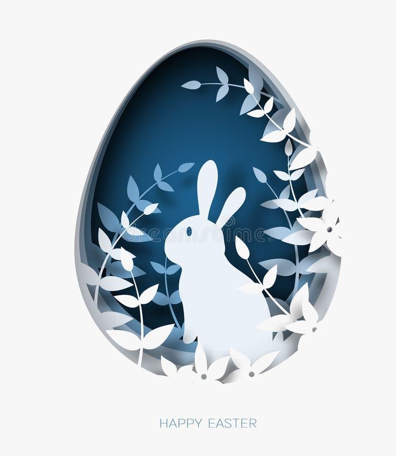 3d abstrakta papieru rżnięta ilustracja kolorowy papierowy sztuki Easter królik, trawa, kwiaty i błękitny jajeczny kształt, royalty ilustracja