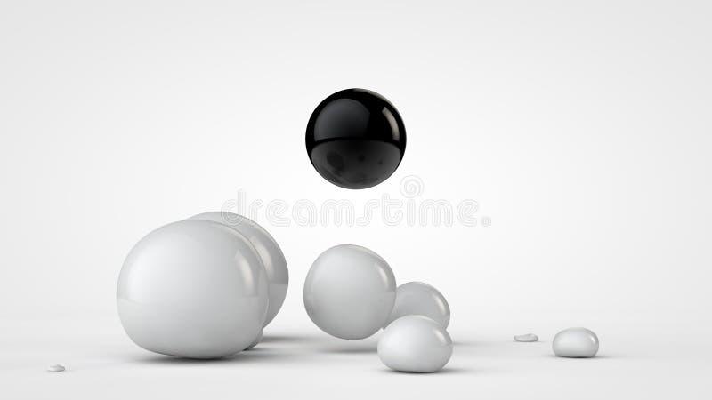3D Abstraktion, das Bild von weißen Tropfen der formlosen Angelegenheit des Raumes und auf der Oberfläche, um den schwarzen Berei stock abbildung