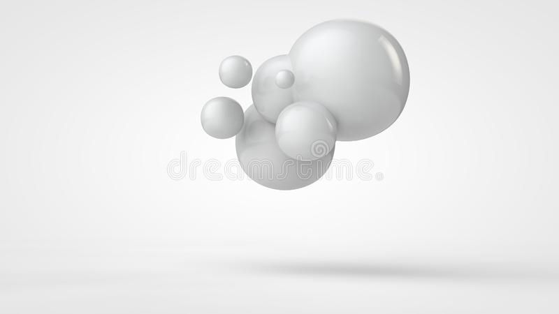 3D Abstraktion, das Bild von wei?en Tropfen der formlosen Angelegenheit des Raumes und auf der Oberfl?che, um den schwarzen Berei lizenzfreie abbildung