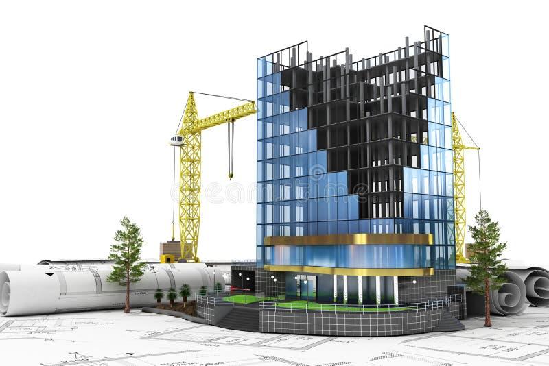 3d abstrato do conceito do desenvolvimento da construção ilustração royalty free