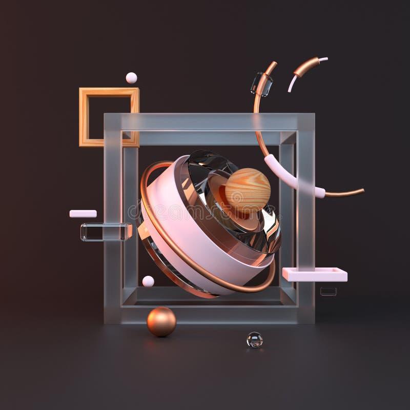 3D abstrato do metal objeta no fundo preto ilustração royalty free