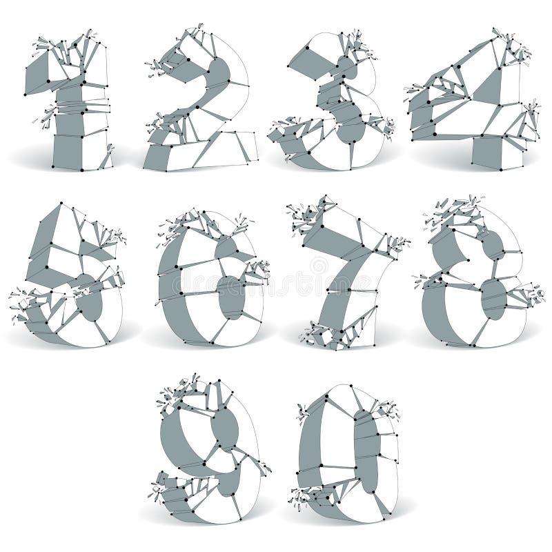 3d abstrato lapidou números monocromáticos com linha preta conectada ilustração royalty free