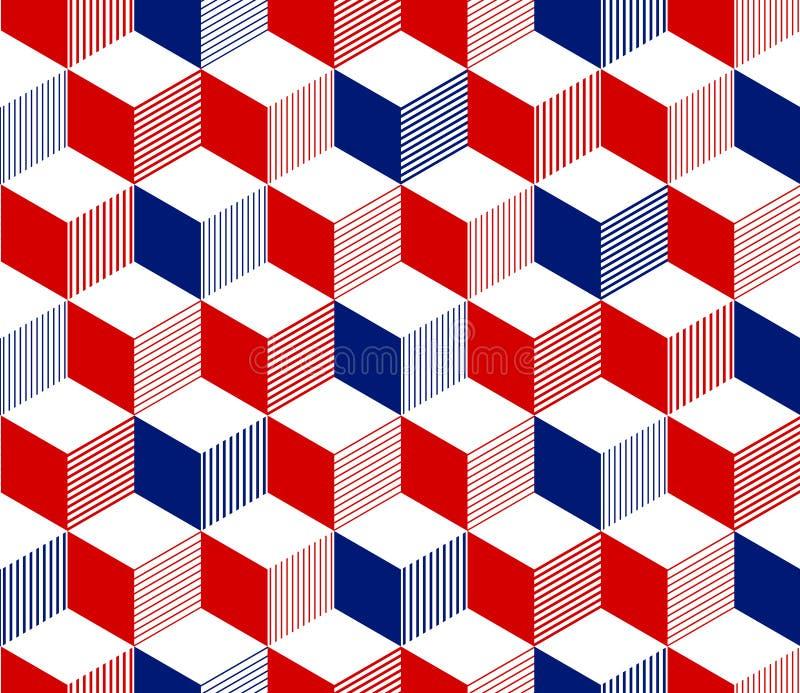 3d abstrato listrou o teste padrão sem emenda geométrico dos cubos em azul e branco vermelhos, vetor ilustração stock