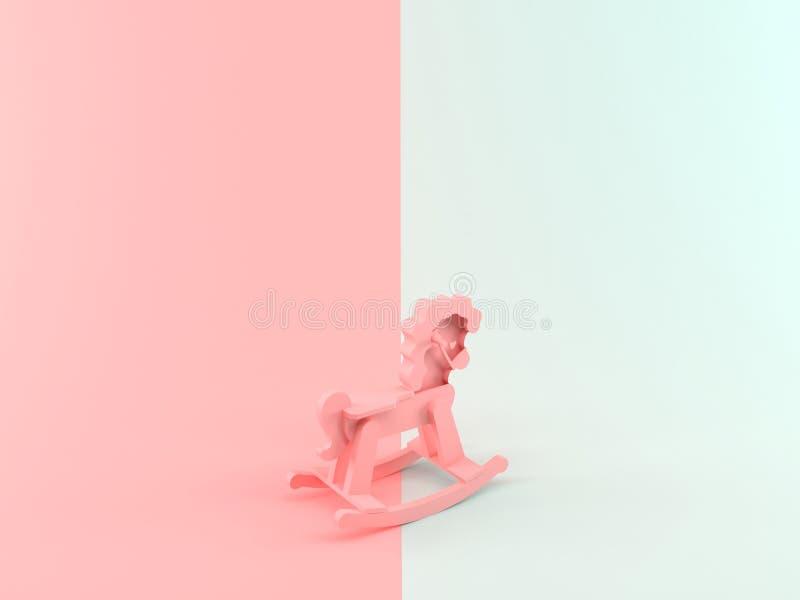 3D abstrato que rende o cavalo de madeira ilustração do vetor