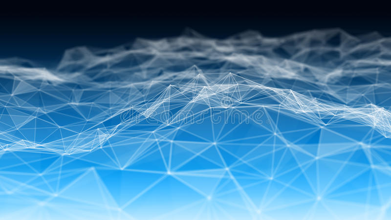 3d abstrato que rende pontos futuristas e linhas estrutura digital geométrica da conexão do computador Plexo com partículas ilustração royalty free