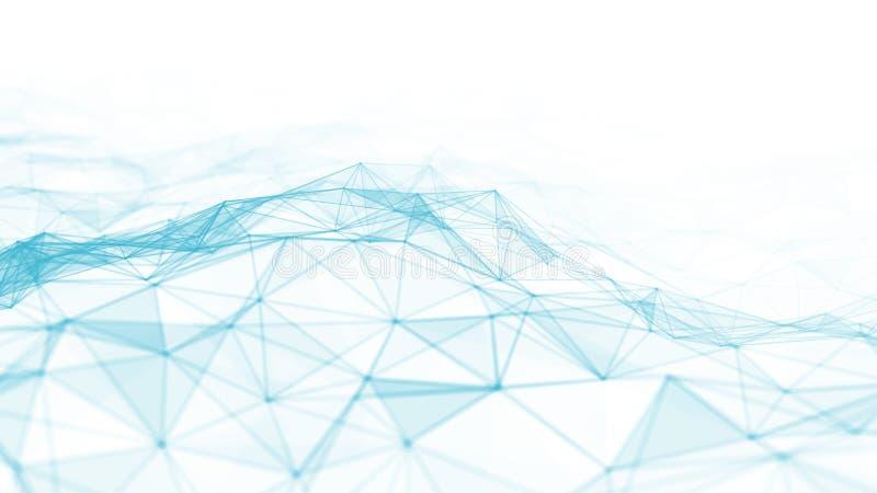 3d abstrato que rende pontos futuristas e linhas estrutura digital geométrica da conexão do computador Plexo com partículas