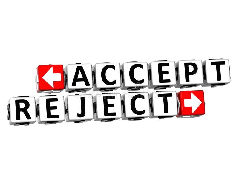 3D aceitam o botão da rejeição clicam aqui o texto do bloco ilustração stock