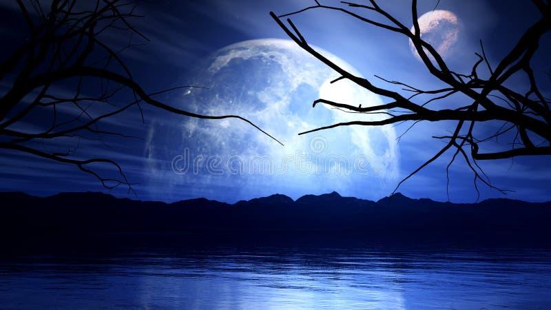 3D achtervolgende achtergrond met maan, planeet en boomsilhouet royalty-vrije illustratie