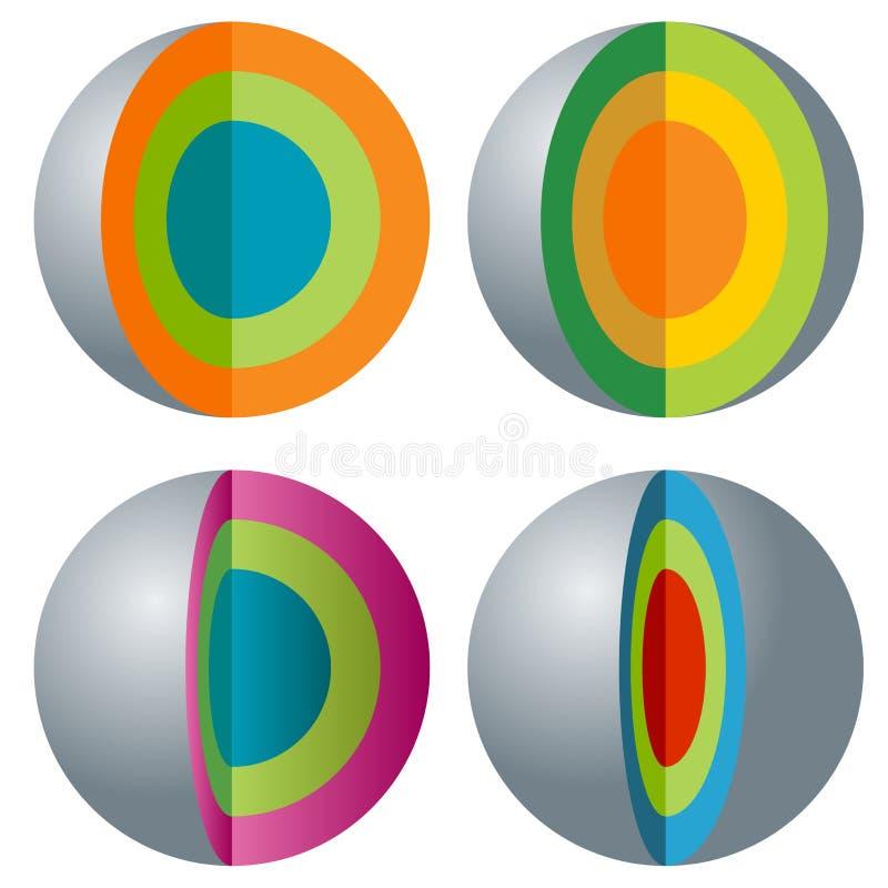 3d acodó el sistema del icono de la esfera stock de ilustración