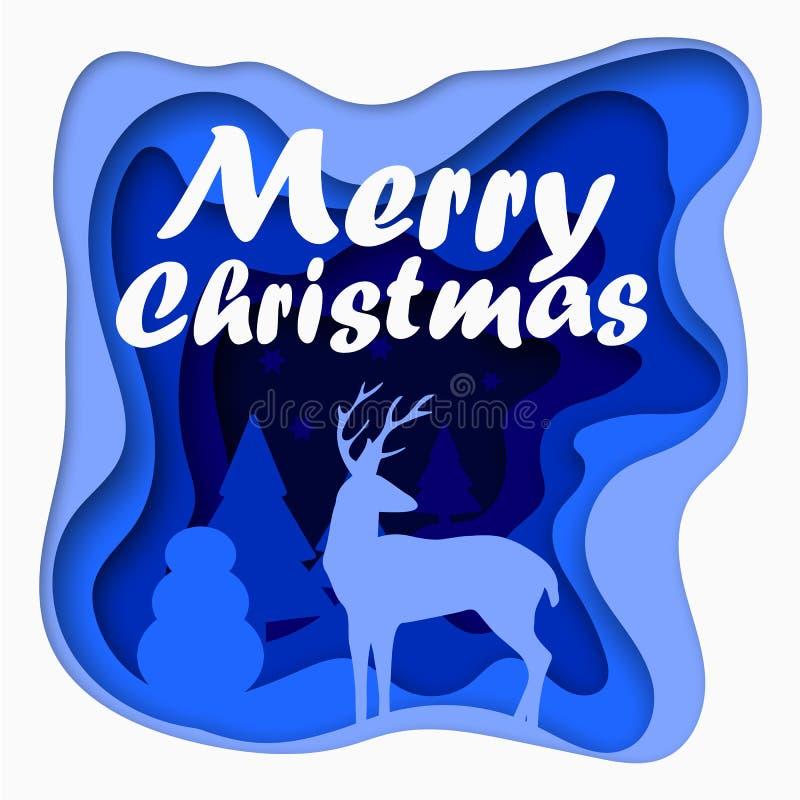 3d acodado cortó la postal de papel de la Feliz Navidad con los árboles, ciervos, estrellas Plantilla del vector en la talla de e ilustración del vector