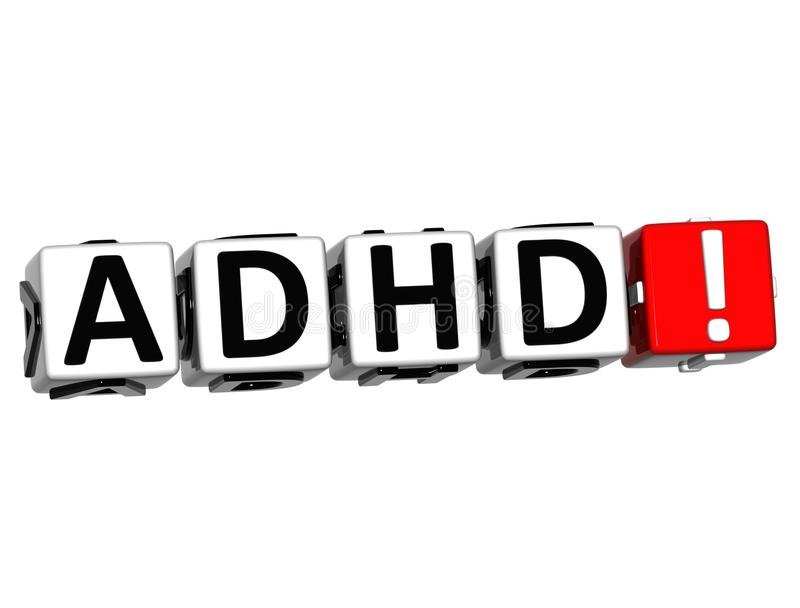 3D ADHD Button Click Here Block Text vector illustration