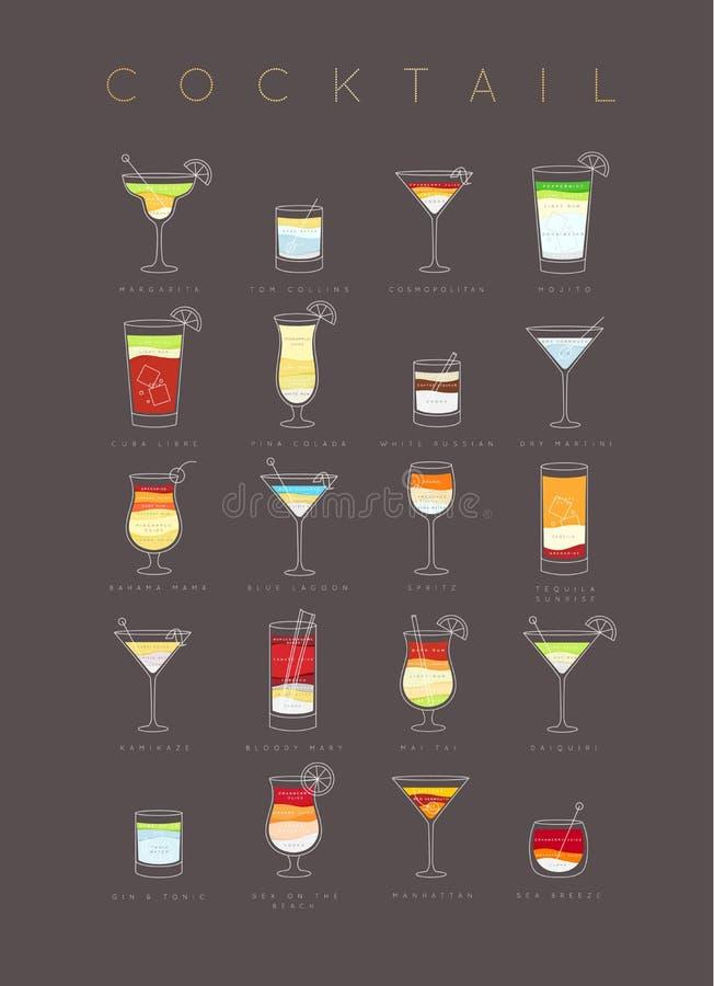 D'affiche de cocktails brun à plat illustration libre de droits