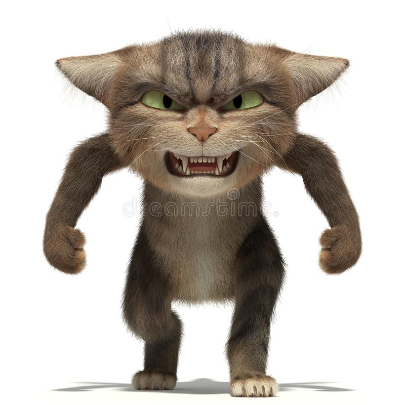 3D aggressive fluffy cat on stock image