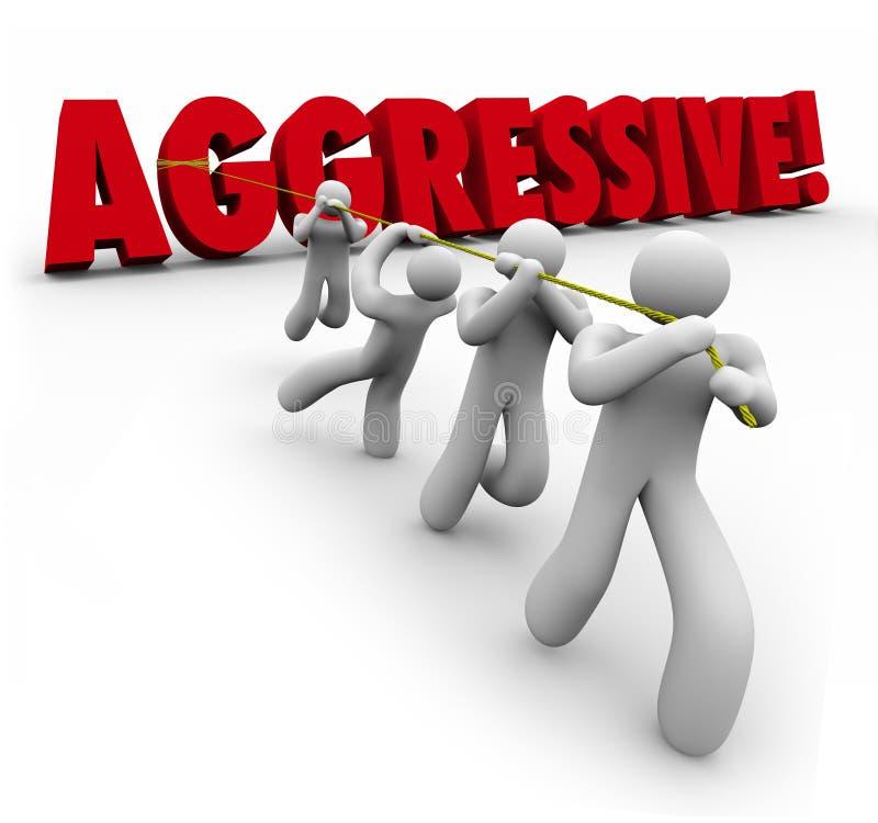 3d agressif Word tiré par Team Workers déterminé illustration stock