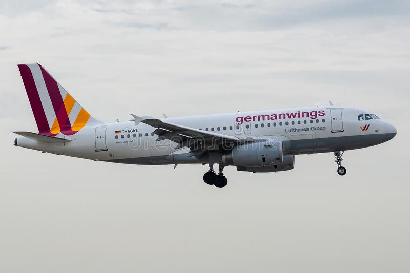 Airbus A319-132 operated by Eurowings on landing. D-AGWL, July 11, 2019, Airbus Airbus A319-132-3534 landing at Paris Charles de Gaulle airport at the end of royalty free stock photos
