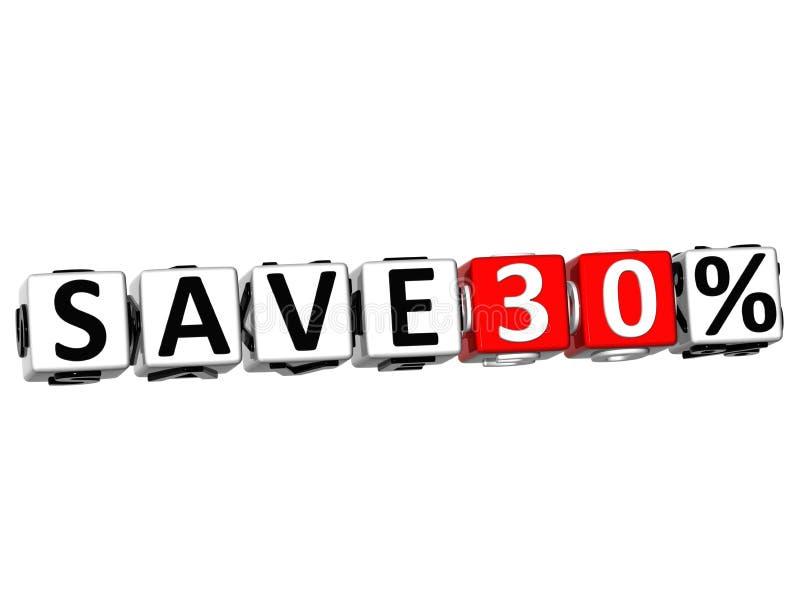 3D ahorran el botón del 30% hacen clic aquí el texto del bloque stock de ilustración