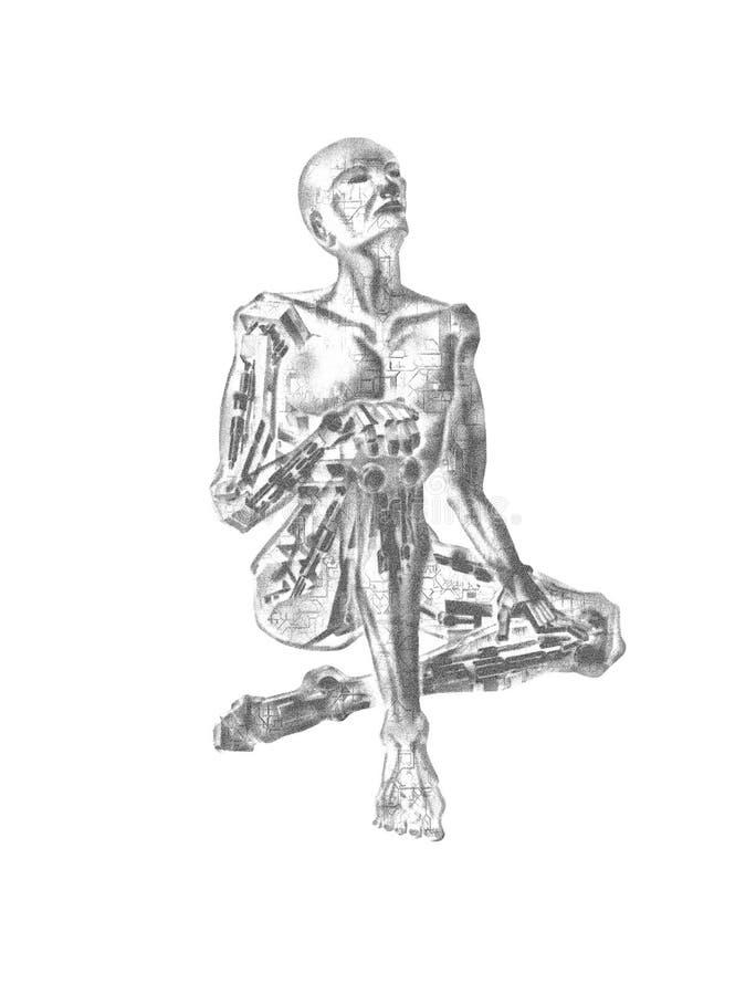 3D AI Marzy robot ilustracja wektor