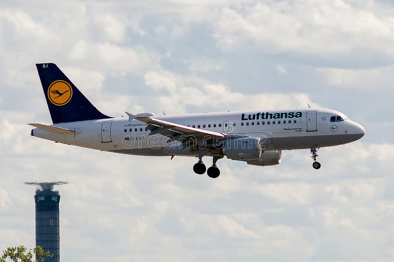 Airbus A319-112 operated by Lufthansa on landing. D-AIBJ, 23 September 2019, Airbus A319-112-5293 landing at Paris Roissy Charles de Gaulle airport at the end of royalty free stock photography