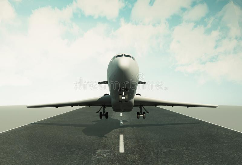 3d Airplane taking off runway royalty free illustration