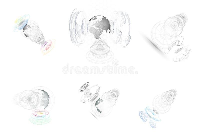 3D aislado punteó los globos con la construcción abstracta, líneas del mundo de conexión en el fondo blanco Diseño del vector libre illustration