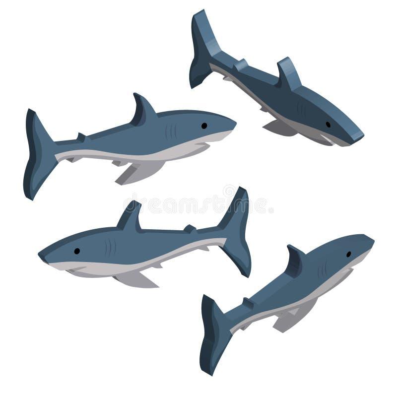 3D ajustou-se dos tubarões azuis isolados no fundo branco ilustração stock