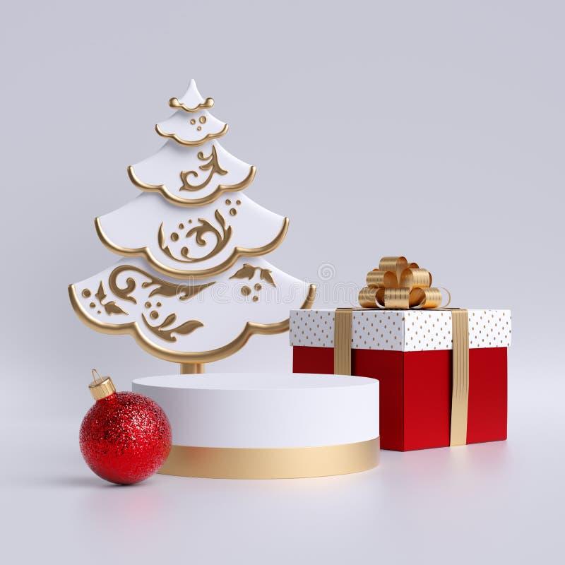 3d albero di Natale, podio o piedistallo vuoto, palla di vetro rossa, scatola regalo isolata su fondo bianco Copia spazio Piattaf fotografie stock libere da diritti