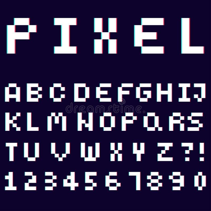 3d alfabet dat van de doopvont van het pixelontwerp wordt gemaakt stock illustratie