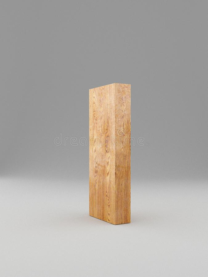 3D alfabeto de madeira decorativo, letra principal mim Isolado ilustração stock